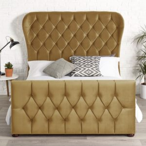upholstered bed frame with winged headboard and footboard