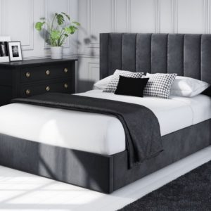 Grey velvet upholstered double ottoman bed frame with wing back headboard