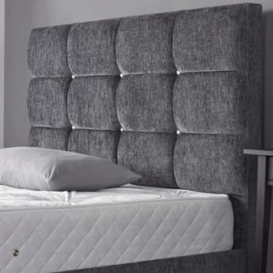 Rio upholstered headboard with cubes and diamonte buttons