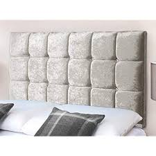 Cube design headboard upholstered in crushed velvet with diamante buttoning